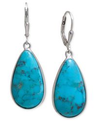 Macy's | Blue Manufactured Turquoise Teardrop Earrings In Sterling Silver | Lyst