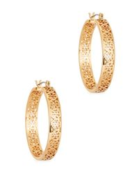 Tory Burch | Metallic Gold Tone Hoop Earrings | Lyst
