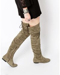 Daisy Street | Green Khaki Over The Knee Tie Back Flat Boots | Lyst