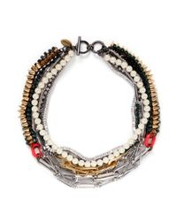 Venna - Multicolor Crystal Spike Pearl Chain Necklace - Lyst