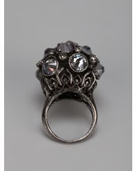 Lanvin - Metallic Crown Crystal Ring - Lyst