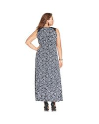 Vince Camuto - Blue Plus Size Illusionpanel Printed Maxi Dress - Lyst