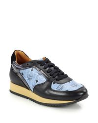 MCM | Blue Visetos Logo-print Leather Sneakers | Lyst