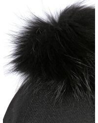 Kreisi Couture - Black Aviatore Hat With Fur Pompom - Lyst