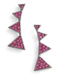 Nadri | Pink Triangle Linear Stud Earrings | Lyst