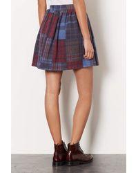 TOPSHOP | Blue Brush Check Flippy Skirt | Lyst