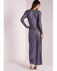 Missguided - Blue Premium Sequin Stripe Wrap Maxi Dress Navy - Lyst