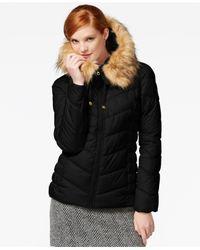 Guess | Black Faux-fur-trim Hooded Puffer Coat | Lyst