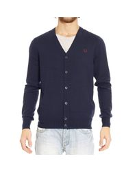 Fred Perry | Blue Sweater Merino Cardigan With Buttons for Men | Lyst
