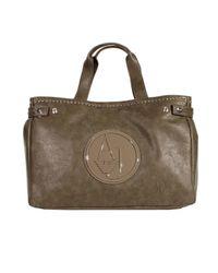 Armani Jeans | Gray Handbag Big Shopping Ecoleather Logo Patent | Lyst