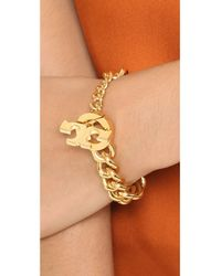 Tory Burch | Metallic Logo Toggle Serif T Bracelet - Shiny Gold | Lyst