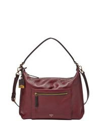 Fossil Purple 'Vickery' Leather Shoulder Bag