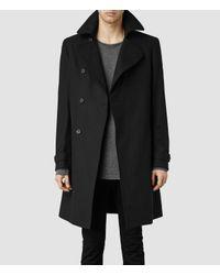 AllSaints | Black Bison Coat for Men | Lyst