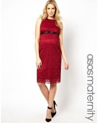 ASOS | Red Exclusive Bodycon Lace Dress with Grosgrain Ribbon | Lyst