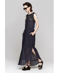 Sea - Blue Lace Eyelet Long Dress - Lyst