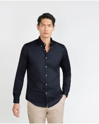 Zara | Blue Shirt With Buttoned Collar for Men | Lyst