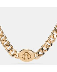 COACH - Metallic Long Turnlock Curbchain Necklace - Lyst