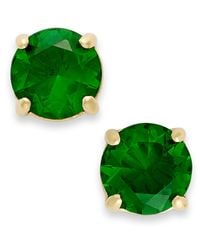 kate spade new york - 12K Gold-Plated Green Crystal Round Stud Earrings - Lyst