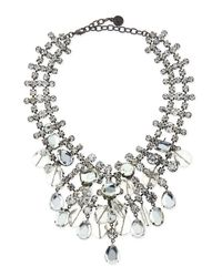R.j. Graziano | Metallic Beaded Crystal Statement Necklace | Lyst