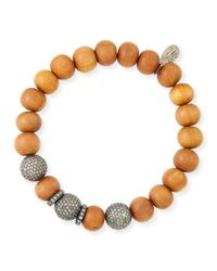 Sheryl Lowe | Brown 10mm Sandalwood & Pave Diamond Bracelet | Lyst
