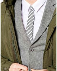 ASOS - Gray Tie With Chambray Stripe for Men - Lyst