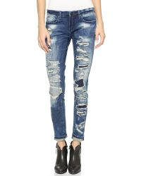Blank | Blue Skinny Distressed Jeans - Barefoot And Busted | Lyst