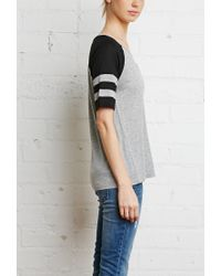 Forever 21 | Black Varsity Stripe V-neck Tee | Lyst