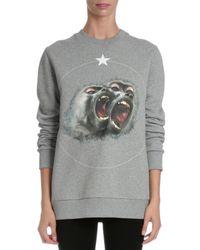 Givenchy - Gray Monkey-print Pullover Sweatshirt - Lyst