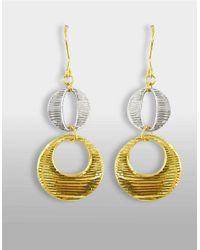 Lord & Taylor   Metallic 14ktwo Tone Gold Drop Earrings   Lyst
