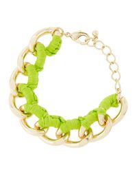 Fragments - Threaded Curbchain Golden Bracelet Green Neon - Lyst