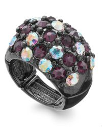 INC International Concepts | Black Hematite-tone Pavé Stone Dome Stretch Ring | Lyst