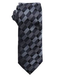 Armani - Gray Dark Grey And Anthracite Geometric Pattern Silk Tie for Men - Lyst