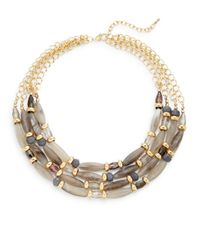 Saks Fifth Avenue - Metallic Beaded Four-row Bib Necklace - Lyst