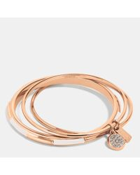 COACH - Pink Plaque Bangle Set - Lyst