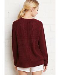 Forever 21 - Purple Waffle Knit Raglan Sweater - Lyst