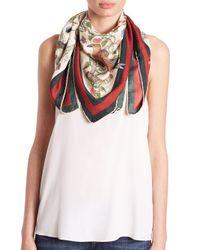 Gucci - Red Condor-print Silk Foulard Scarf - Lyst