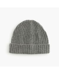 J.Crew | Gray Ribbed Knit Beanie | Lyst