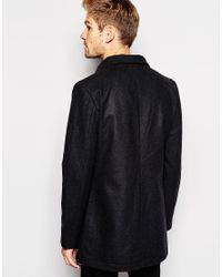 Esprit | Gray Asymetric Collar Coat In Black for Men | Lyst