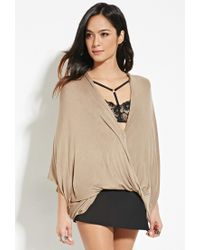 Forever 21 - Brown Drapey Surplice Top - Lyst