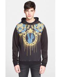 Versace Jeans - Black 'drip' Neoprene Graphic Hoodie for Men - Lyst