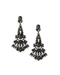 Lydell NYC - Jet Black Crystal Chandelier Earrings - Lyst