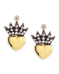 Irit Design | Metallic Heart & Pave Diamond Crown Stud Earrings | Lyst