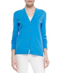 Tory Burch - Blue Madison Stretch-knit V-neck Cardigan - Lyst