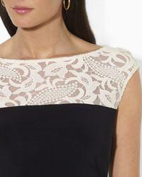 Ralph Lauren - Black Lauren Dress Lace Illusion Neck Matte Jersey - Lyst