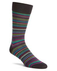 Bugatchi - Gray Stripe Socks for Men - Lyst