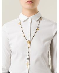 Dolce & Gabbana | Blue Crucifix Charm Prayer Bead Necklace | Lyst