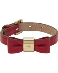 Mulberry - Red Leather Bow Bracelet - Lyst
