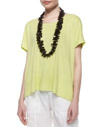 Eileen Fisher | Yellow Short-sleeve Scoop-neck Box Top | Lyst