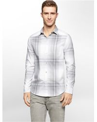 Calvin Klein | Gray Jeans Slim Fit Ombre Plaid Shirt for Men | Lyst