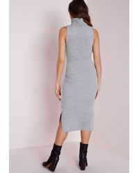Missguided | Gray Oversized Roll Neck Knitted Midi Dress Grey | Lyst